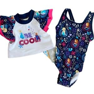 Disney Elsa and Anna Blue Two Piece Swimsuit NWT